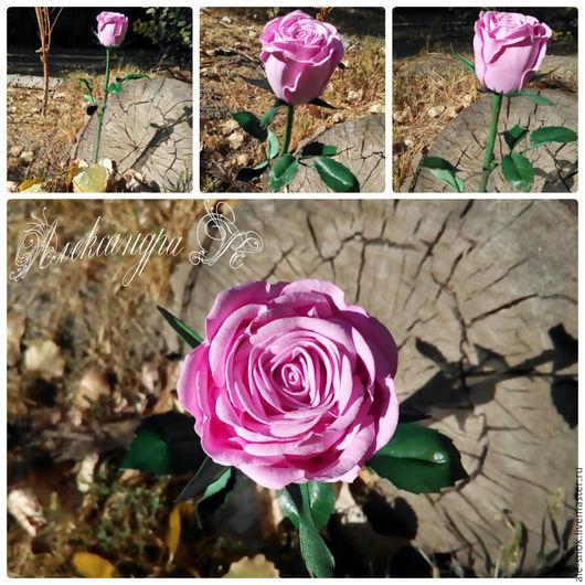 Цветы ручной работы. Ярмарка Мастеров - ручная работа. Купить Роза из фоамирана на стебле из холодного фарфора. Handmade. Комбинированный, фоамиран