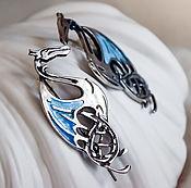 Украшения ручной работы. Ярмарка Мастеров - ручная работа Серьги серебро Дракон и Небо. Handmade.
