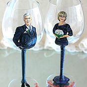 Подарки к праздникам handmade. Livemaster - original item Glasses on a wedding anniversary. Handmade.