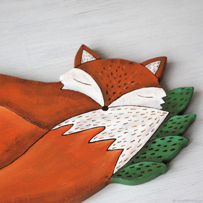 Панно деревянное. Лиса. Картина с лисой. Декор стен. Рыжий, Панно, Санкт-Петербург,  Фото №1