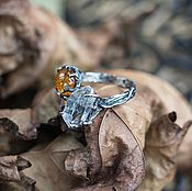 Украшения handmade. Livemaster - original item Silver ring with amber and quartz crystal