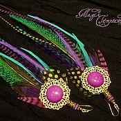 Украшения handmade. Livemaster - original item Emerald purple feather earrings. Handmade.