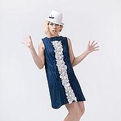 Одежда ручной работы. Ярмарка Мастеров - ручная работа МГ_024 Платье ШИТОЕ синее. Handmade.