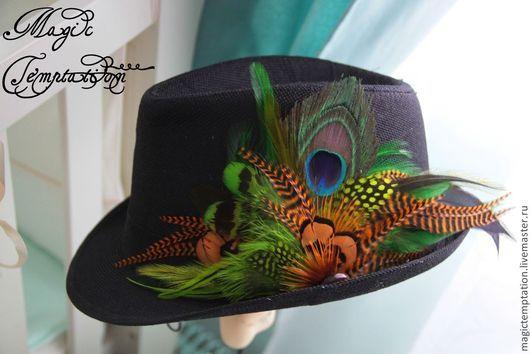 Шляпы ручной работы. Ярмарка Мастеров - ручная работа. Купить Шляпа с перьями .. Handmade. Коричневый, хиппи стиль, хендмейд