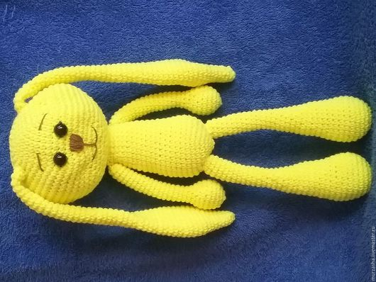 Игрушки животные, ручной работы. Ярмарка Мастеров - ручная работа. Купить Заяц-амигуруми. Handmade. Желтый, хлопок, синтепон
