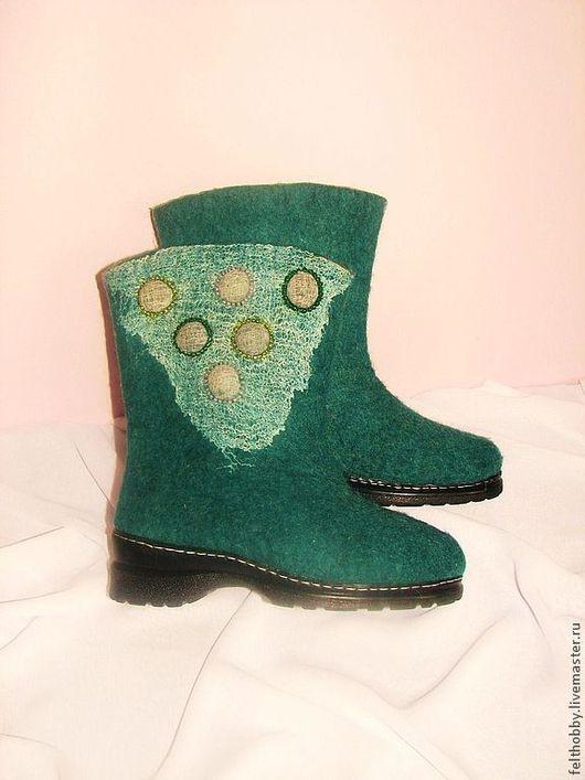 """Обувь ручной работы. Ярмарка Мастеров - ручная работа. Купить Валенки """"Морской бриз"""". Handmade. Морская волна, купить валенки"""