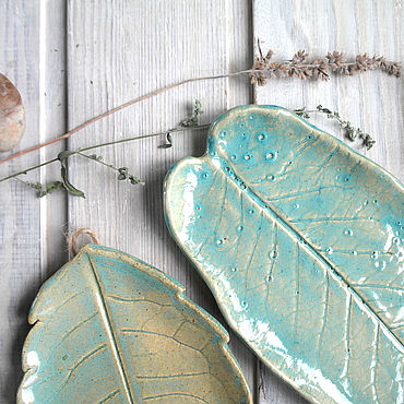 Для дома и интерьера ручной работы. Ярмарка Мастеров - ручная работа Пара подвесных тарелок-листьев. Handmade.