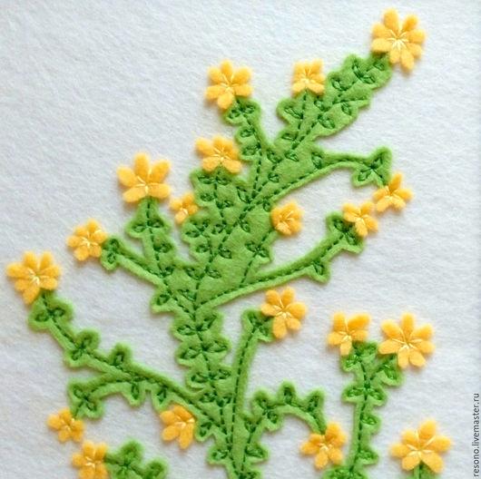 Картины цветов ручной работы. Ярмарка Мастеров - ручная работа. Купить весеннее ЦВЕТЕНИЕ из фетра Spring Bloom. Handmade. Желтый