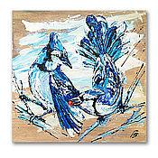 Картины и панно handmade. Livemaster - original item Blue jays, painting on a tree. Handmade.