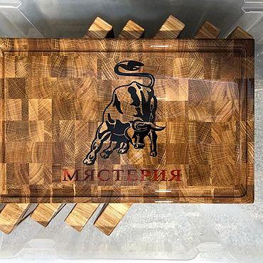 Посуда. Ярмарка Мастеров - ручная работа Доски: торцевые для подачи с инкрустацией. Handmade.