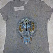 "Одежда handmade. Livemaster - original item T-shirt with hand-painted ""Magic Lion"". Handmade."