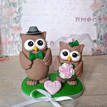 Свадебный салон ручной работы. Ярмарка Мастеров - ручная работа Фигурки на свадебный торт Совушки. Handmade.
