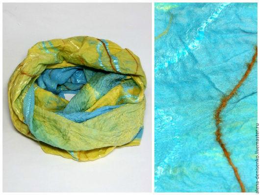 Шарфы и шарфики ручной работы. Ярмарка Мастеров - ручная работа. Купить шарф валяный снуд желто-бирюзовый. Handmade. Разноцветный