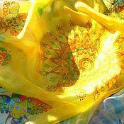 Аксессуары ручной работы. Ярмарка Мастеров - ручная работа Шелковый платок Солнцеворот. Авторский Батик.. Handmade.