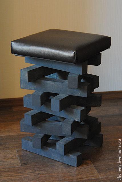 Мебель ручной работы. Ярмарка Мастеров - ручная работа. Купить Табурет из дерева. Handmade. Темно-серый, табурет, кожа, дерево