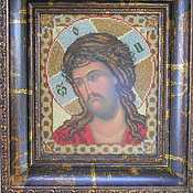 Картины и панно handmade. Livemaster - original item the icon embroidered with beads Jesus Christ in a crown of thorns. Handmade.