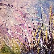 Картины и панно handmade. Livemaster - original item Watercolor painting of LAVENDER flowers in the WIND. Handmade.