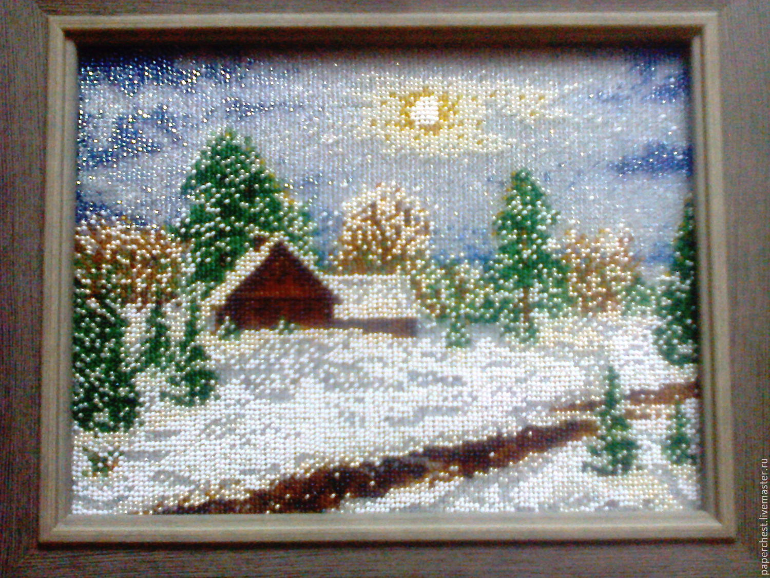The picture is embroidered with beads 'Winter', Pictures, Moscow,  Фото №1