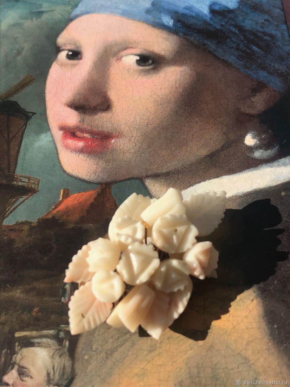 White coral roses brooch, Europe, Vintage accessories, Arnhem,  Фото №1