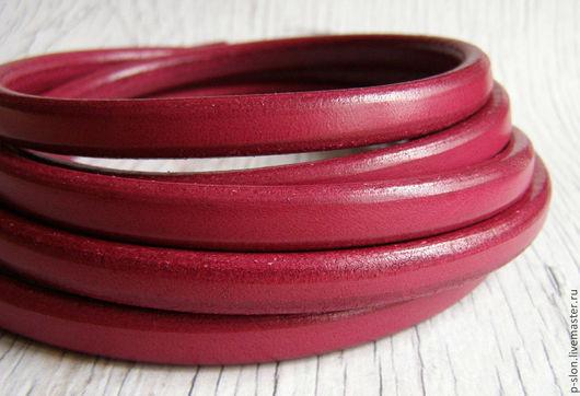 Для украшений ручной работы. Ярмарка Мастеров - ручная работа. Купить Шнур кожаный для regaliz (регализ) 10х6мм гранат. Handmade.