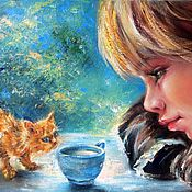 Pictures handmade. Livemaster - original item The girl and the Kitten Oil painting on canvas The Little Great Heart. Handmade.