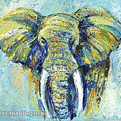 """Картины и панно ручной работы. Ярмарка Мастеров - ручная работа Картина со слоном """"Прогулка в Облаках"""" (холст, масло). Handmade."""