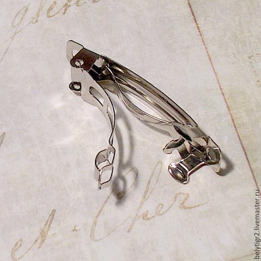 Основа для заколки (автомат), 39 х 9 мм, цинковый сплав, цвет серебро, 1 шт
