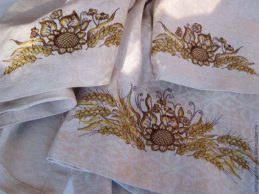 Вышитая скатерть и салфетки с вышивкой ПОДСОЛНУХИ  - прекрасный подарок на Новый год, подарок на День рождения, подарок на любой случай.