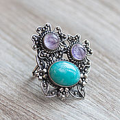 Украшения handmade. Livemaster - original item Ring with amethyst and amazonite (21). Handmade.