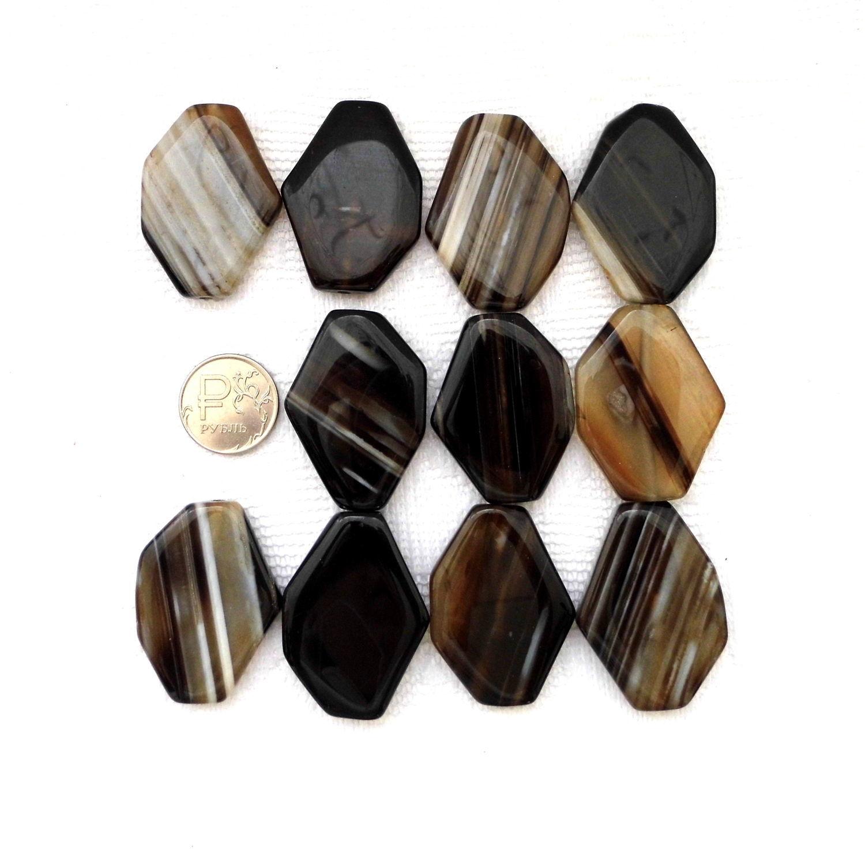 Агат 11 камней набор крупный черный с рисунком бусины плоские, Бусины, Москва, Фото №1