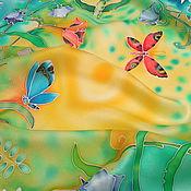 """Аксессуары ручной работы. Ярмарка Мастеров - ручная работа Шелковый платок """"УТРО.""""  Батик.. Handmade."""
