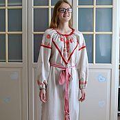 handmade. Livemaster - original item Linen shirt dress women`s Slavic amulet painted. Handmade.