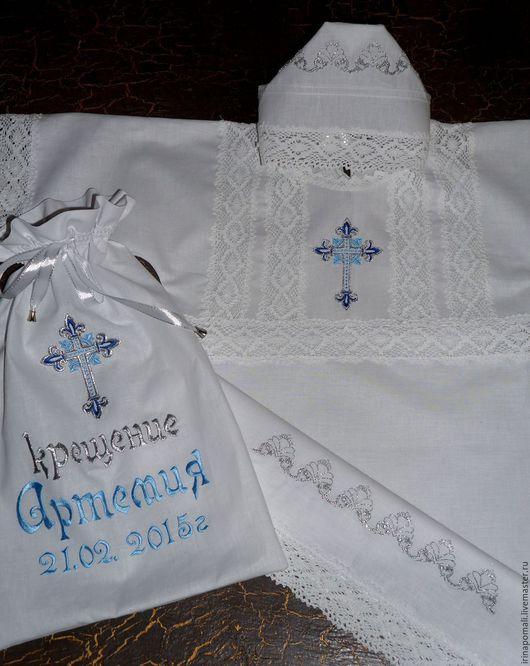 Крестильные принадлежности ручной работы. Ярмарка Мастеров - ручная работа. Купить Набор крестильный-рубашка и мешок. Handmade. Белый, крестик