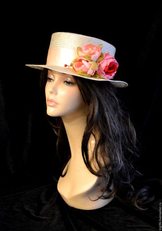 """Шляпы ручной работы. Ярмарка Мастеров - ручная работа. Купить Канотье """" Персиковые розы"""". Handmade. Бежевый, соломка"""
