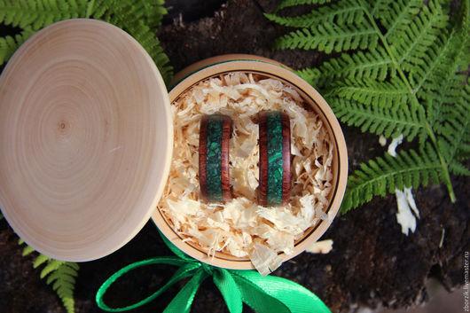 Кольца ручной работы. Ярмарка Мастеров - ручная работа. Купить Деревянные кольца с малахитом. Handmade. Кольцо из дерева, ооигинальное кольцо