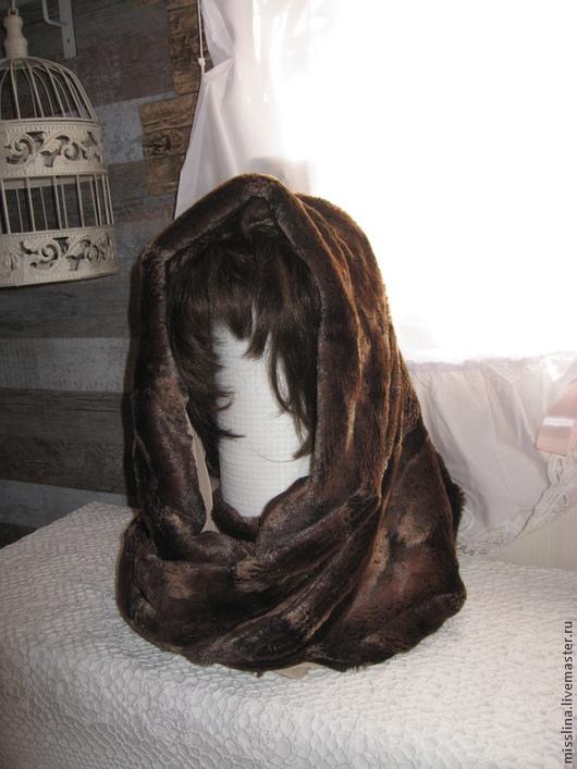 Шали, палантины ручной работы. Ярмарка Мастеров - ручная работа. Купить Снуд  шарф  меховой коричневый 002. Handmade. Коричневый