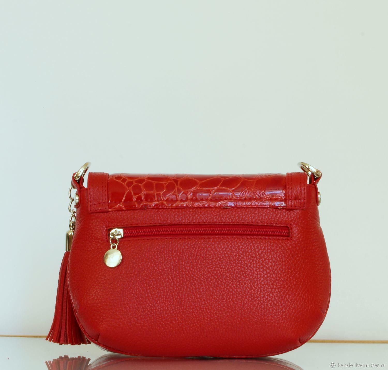 44aa7dc73ceb Купить Сумка кожаная женская ' Женские сумки ручной работы. Сумка кожаная  женская ' Flap ' красная мини'.