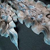 Аксессуары ручной работы. Ярмарка Мастеров - ручная работа шарф валяный Голубая роза. Handmade.