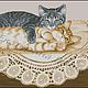 Котята на салфетке. Авторская схема для вышивки крестом.