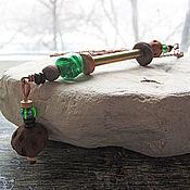 Подвеска ручной работы. Ярмарка Мастеров - ручная работа Длинный кулон из меди, латуни и стекла с керамическими бусинами. Handmade.