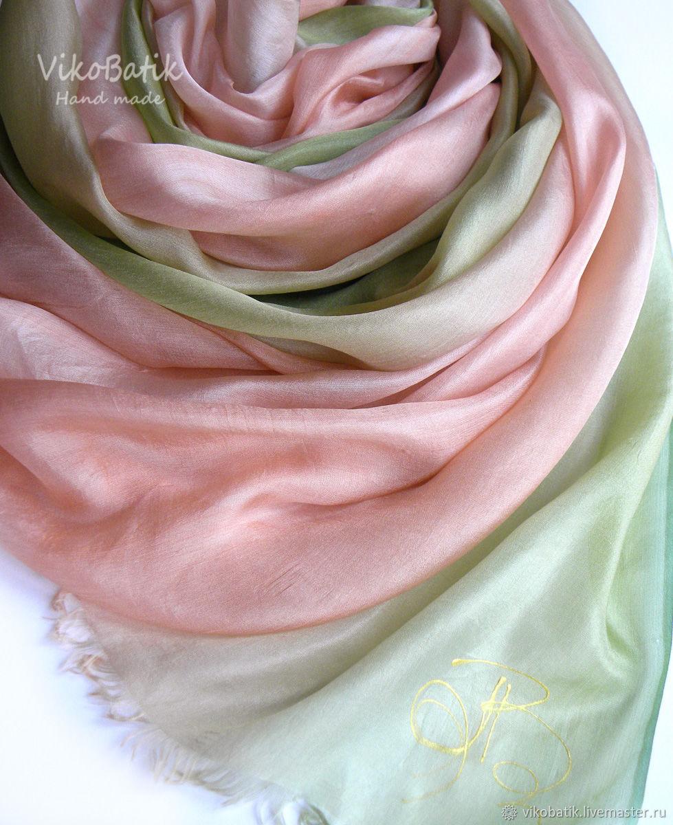 Batik Stole 'rose Petal' Pink Olive Silk 100%, Scarves, Kislovodsk,  Фото №1