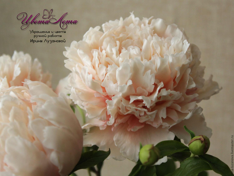 Персиковый пион из холодного фарфора