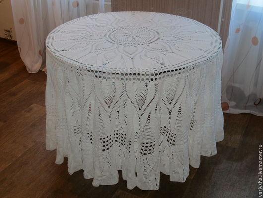 Текстиль, ковры ручной работы. Ярмарка Мастеров - ручная работа. Купить Скатерть ручной работы из хлопка. Handmade. Белый, круглая