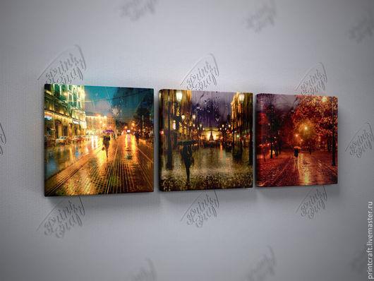 """Город ручной работы. Ярмарка Мастеров - ручная работа. Купить Композиция """"Краски дождя"""". Handmade. Картина, модульная картина"""