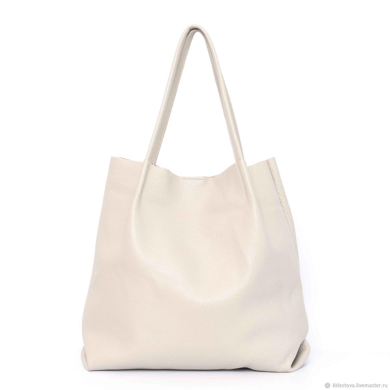 Shopper Bag Beige Leather Medium Bag Tote String Bag Snow Bag, Shopper, Moscow,  Фото №1