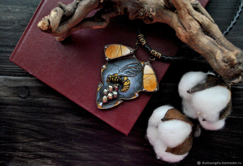 Necklace'Mysterium Wasp sculpture miniature, Necklace, Vladimir,  Фото №1