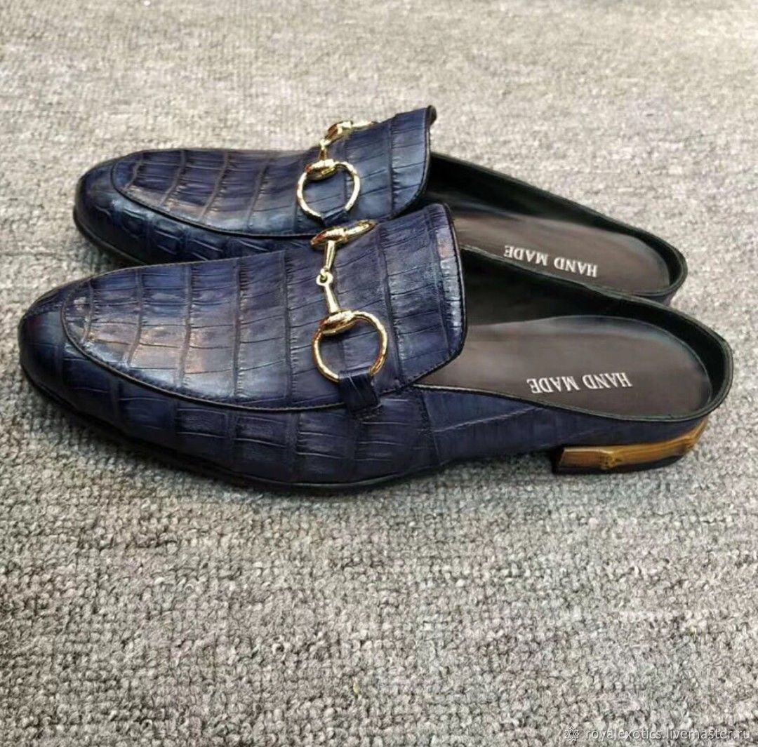 Men's shoes - mules, crocodile leather, blue color, Slippers, Tosno,  Фото №1