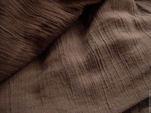 Тонкий хлопок креп тёмно-коричневый Летний, мягкий, дышащий и элегантный хлопковый креп (жатка). Ткань сохраняет эффект жатости после стирки и не требует глажки