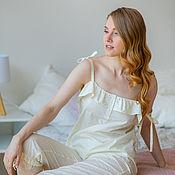 Одежда handmade. Livemaster - original item Pajamas with trousers vanilla. Handmade.