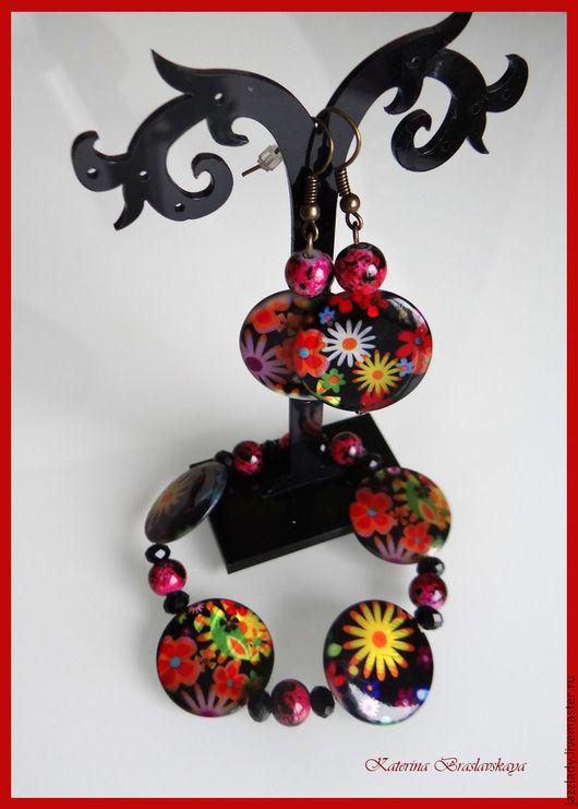 """Комплекты украшений ручной работы. Ярмарка Мастеров - ручная работа. Купить """"Барышня с цветами"""", (браслет и серьги). Handmade. Комбинированный, перламутр"""